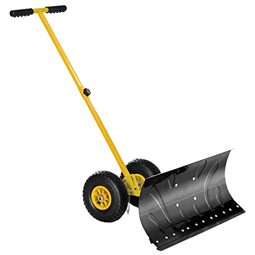 Outsunny Heavy-Duty Snow Shovel Rolling Pusher with 29'' Blade, 10'' Wheels and Angle-Adjustable Handle Yellow
