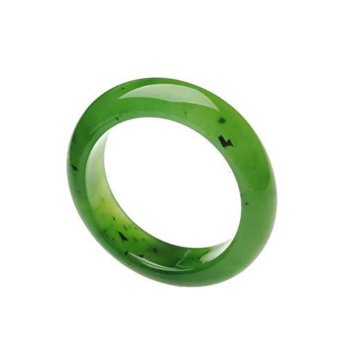 Anillos De Jade Verde Jaspe Natural Anillo De Jade De Piedra Real Joyería De Jade Para Hombres O Mujeres Anillo De Onda De Níquel Para Mujer 8.5 Verde