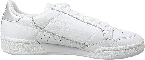 adidas Womens Continental 80 Sneaker, Footwear White/Footwear White/Silver Metallic, 40 2/3 EU