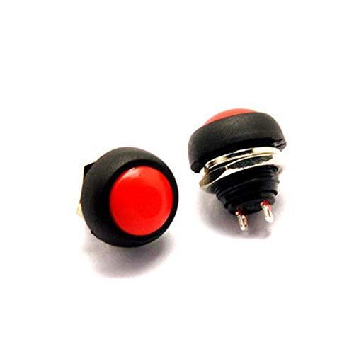 Interruptor Botón pulsador momentáneo para el hogar Accesorios pequeños Interruptor de botón de bocina de reinicio redondo (Color: Rojo)