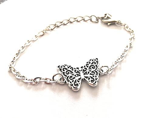 Pulsera de acero con de mariposa brazalete idea de regalo para el día de la madre mujeres bisutería unisex hecha a mano