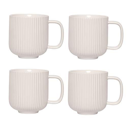 KØZY LIVING Keramik Tasse 4 Stk - 350 ml Tassen-Set mit Henkel in skandinavischem, nordic Design - perfekt für Kaffee oder Tee - Weiß