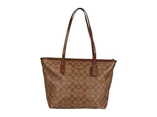 COACH Signature Messico City Zip Tote Khaki/Saddle 2 One Size