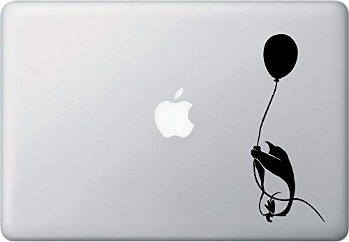 Tra56owe MB - Flying Balloon Penguin Grabbing Rope - D2 - Macbook or Laptop Decal - Sticker Gift-Gift (2.75' w x 7' h) (BLACK)