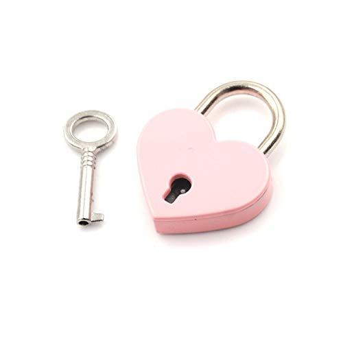 Vorhängeschloss Mini Love Shape Lock Gepäcktasche Gym Locker Vorhängeschloss Mit Schlüssel Vorhängeschloss Handtasche Micro Craft Tagebuch Box Lock Pink