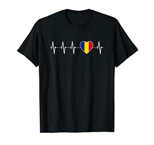 Rumänen Herzschlag I Love Romania Herzflagge Geschenk T-Shirt