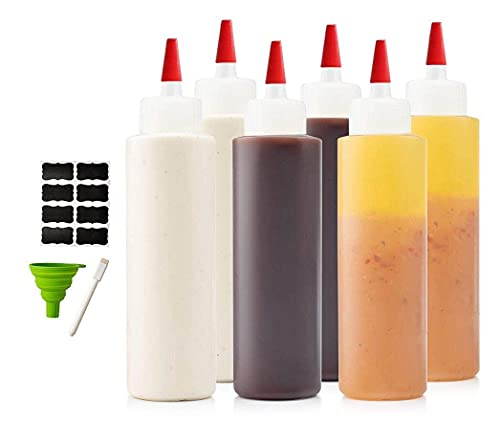 6-pack Premium Plastic Condiment Squeeze Squirt Bottles for Sauces, Paint ,Oil, Condiments ,Salad Dressings, Arts and Crafts - Food Grade-Includes Funnel, Erasable Marker and Reusable Labels (16 oz)