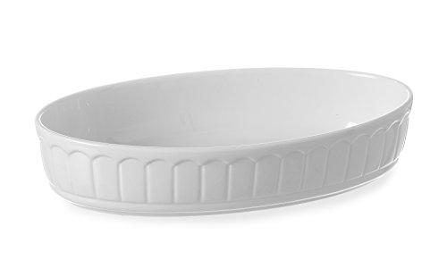 HENDI Ofenform Rustica, Oval, Hohe Schlag- und Verschleißfestigkeit, geeignet für Ofen, Mikrowelle, Geschirrspüler, 245x145x(H)55mm, Weiß Porzellan