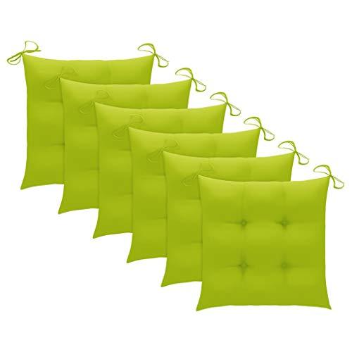vidaXL 6X Stuhlkissen Sitzkissen Sitzpolster Auflage Sitzauflage Stuhlauflage Polster Kissen für Gartenstuhl Essstuhl Hellgrün 50x50x7cm Stoff