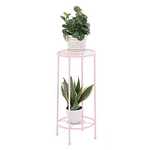 Simple Hierro labrado Dorado Mini Soporte de Suelo Salón Balcón Interior Soporte de Flor 30cmX70cmX32cm (Color : Pink)