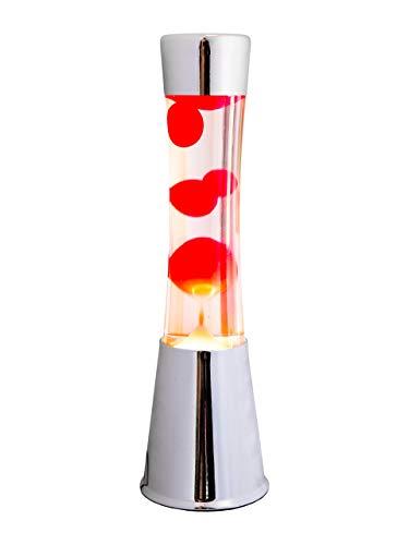 lampada magma FISURA LT0322 Lampada di lava cromata 40cm Liquido trasparente Magma Rosso. Metallo e cristallo. Lava Lamp