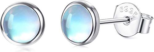 Milacolato 925 sterling silver månsten stiftörhängen 14K vitt guld syntetisk rund månsten örhängen små stiftörhängen för kvinnor 4 mm 5 mm 6 mm 7 mm e sterlingsilver, cod. MLU-A-E0590-4MM