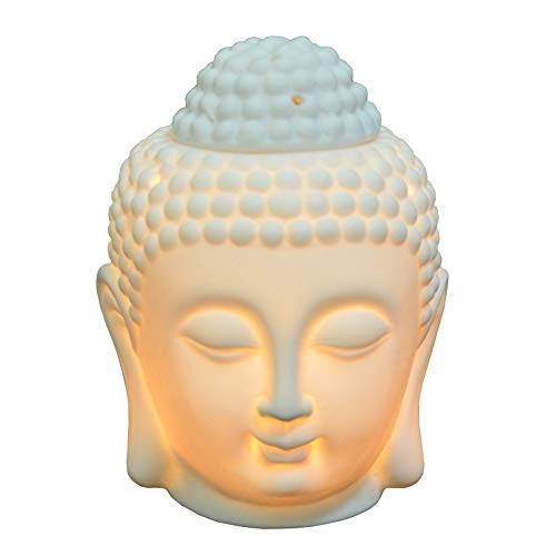 Buddha Head Statue Oil Burner Translucent Ceramic Aromatherapy Diffusers Home Decor (White)
