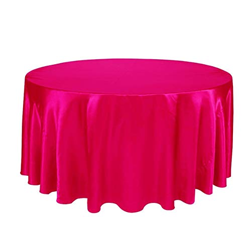 1pcs satin for le mariage Nappe de fête d'anniversaire Couverture Table Table ronde en tissu Home Décor Cuisine Salle Table à Manger Couverture (Color : Fuchsia, Specification : 57inch 145cm)