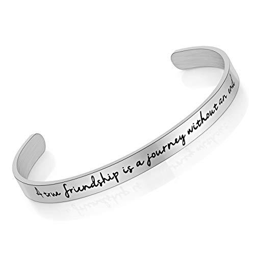 Zysta Armband- Edelstahl Armband Männer Frauen Armreif Damen Herren Armspange mit Gravur verstellbar Silber (A true friendship is a journey without an end-ohne gravur)