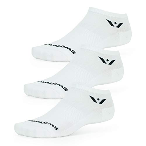 Swiftwick- ASPIRE ZERO (3 Pairs) Running & Cycling Socks, No-Show, Compression Fit (White, Large)