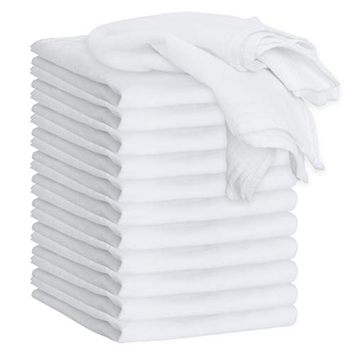 """GREEN LIFESTYLE White Flour Sack Towels - 12-Pack of 100% Ring Spun Cotton Home Kitchen Dish Towel. Soft Absorbent Dish Towels - Lint Free Measures 28"""" X 28"""" Tea Towel"""