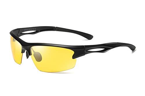 Skevic Polarisierte Sportbrille Sonnenbrille Herren und Damen TR90 Fahrradbrille mit UV400 Schutz - Radbrille für Autofahren Running Skifahren Fischen Radfahren Wandern Golf (Mattschwarz/Gelb)