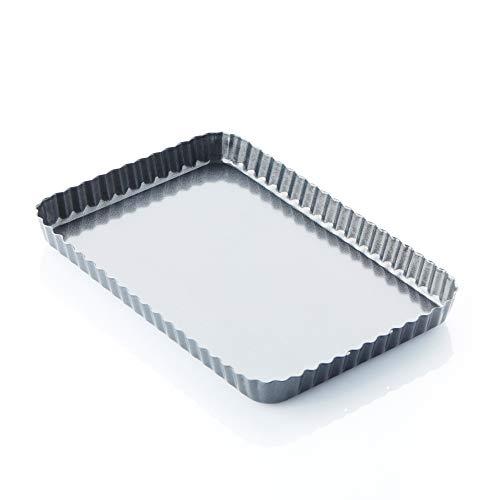 A'Domo PV-BAK-2316 Point-Virgule Poêle à tarte/quiche cannelée anti-adhésive avec base amovible 31 x 21 x 3 cm Acier Argenté