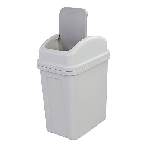 Dehouse 10 L Trash Can with Swing-top Lid, Plastic Garbage Bin, G