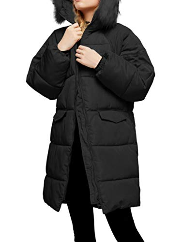 sanuo Winter New Arrival Down Jacket Women Hooded Coat Fur Collar Long Cotton ,Black,XXL
