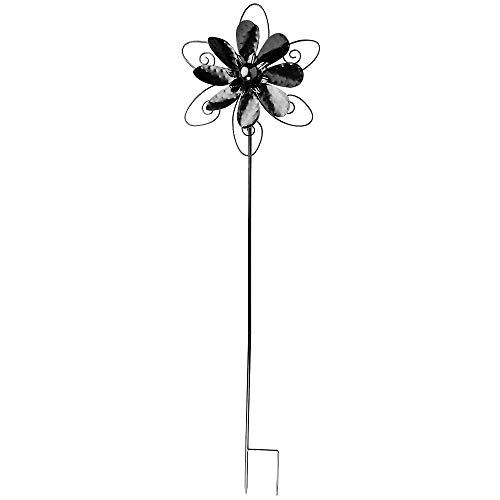 Ideen mit Herz Windrad aus Metall | für den Garten | schwarz | Windspiel | Gartendeko | ideal zum Bemalen und Weiterverzieren (Design 3 | Ø 29,5 cm | Höhe 107 cm)