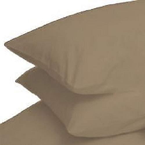 Deluxe Beddings Bügelfreie Polyester-Baumwoll-Perkal Bettlaken in 20 Farben für Einzel-, Doppel- und King-Size-Betten, Mokka, 1 Paar