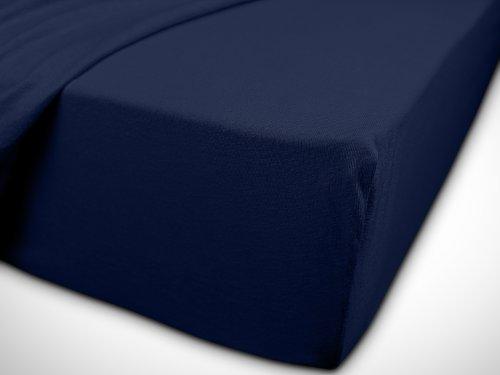 npluseins klassisches Jersey Spannbetttuch – erhältlich in 34 modernen Farben und 6 verschiedenen Größen – 100% Baumwolle, 70 x 140 cm, navyblau - 7