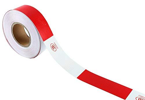 FreeTec Reflektierende Klebeband Sicherheit Schutz Vorsicht Auffälligkeit Warnung Reflexfolie Reflektor Aufkleber Reflexband für Autos, LKW - Rot und Weiß (Streifen)