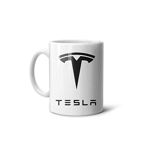 Happy-life Kaffeetasse aus Keramik, 313 ml, Ed-Tesla-Car-Electric-Energy, Souvenir, 330 ml, Keramik, Geschenk für Freund, Vater, Opa, Bruder One Size Tesla-Modell-Logo.