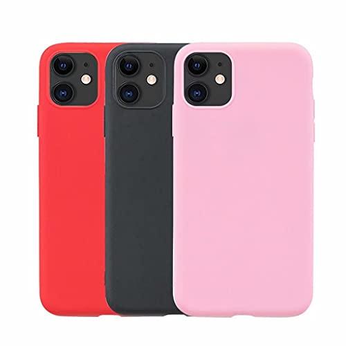 xinyunew 3X Funda para iPhone 11 Pro MAX 6.5 Carcasa en Silicona,Funda Blanda para iPhone 11 Pro MAX 6.5 |Goma|Bumper | Fundas - [ Negro + Rojo + Rosa ]