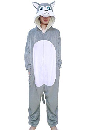 wotogold Pijamas de Perro Husky Animal Trajes de Cosplay Adultos Unisex Gray