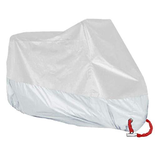 Cubierta completa a prueba de polvo para interiores y exteriores, protección UV para la lluvia, para scooter de motocicleta 50CC de 1,8 metros / 5,9 pies, plateado