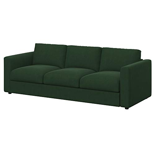 Soferia Funda de Repuesto para IKEA VIMLE sofá de 3 plazas, Tela Majestic Velvet Bottle Green, Verde