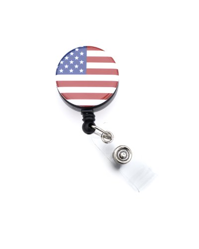 "American Flag Badge Reel/Red White and Blue Retractable Badge Reel/ID Badge Holder- Solo Badge Reel or Rhinestone Lanyard and Badge Reel Set (Solo American Flag Badge Reel 1.25"") Photo #2"