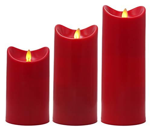 LED Kerze mit flackernder Flamme, flammenlose Kerzen mit Timer & An- / Aus Schalter, mit beweglicher Flamme, 600 Stunden Leuchtdauer, warm-weiß beleuchtet (rot, 3er Set)