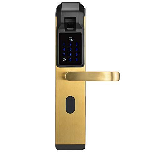 LTJX Cerradura Electrónica Inteligente, 4 en 1 Cerradura de Puerta Inteligente de Seguridad electrónica, Código Anti-pío, Teclado Digital, Cerradura Inteligente Antirrobo Casera,Oro