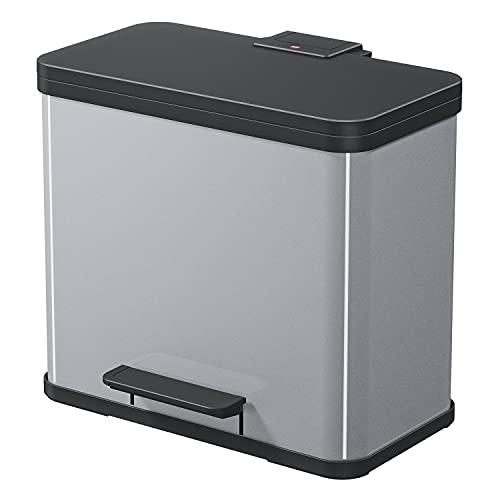 Hailo Öko trio Plus L | Mülltrenner 3 x 9 Liter | 27 Liter | Soft Close Deckeldämpfung | 3-In-1 Treteimer mit Inneneimern | Mülleimer rechteckig | Made in Germany | Stahlblech | silber