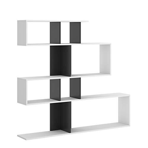 HABITMOBEL Librería estantería Zig Zag, Comedor, Salon o despacho, 130 x 139 x 5 cm de Fondo (Blanco y Grafito)