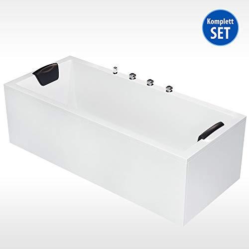 AQUADE Badewanne Komplett-Set inkl. Unterbau Ab-Überlauf und Schürzen-Set 180x80 cm Modell: Neu-Ulm + Armatur mit integriertem Wasserfall + Nackenkissen