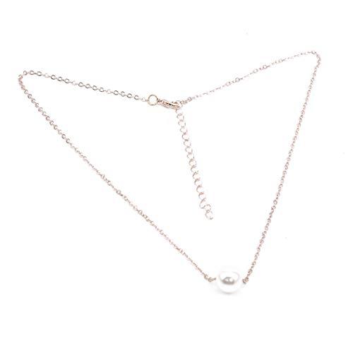 ZXDDD Frauen Halskette Imitation Perlenkette Schlüsselbeinkette Halskette für Frauen Teenager Mädchen Freundin Schwester Schmuck,Roségold