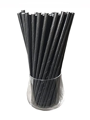 Papierstrohhalme, Papier Trinkhalm, Biologisch, Lebensmittelecht, umwelftreundlich, Einweg-Strohhalme, 120 Pack (Schwarz)