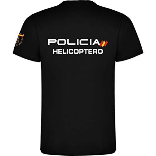 Piel Cabrera Camiseta Policia Nacional HELICOPTERO (Negro, XL)