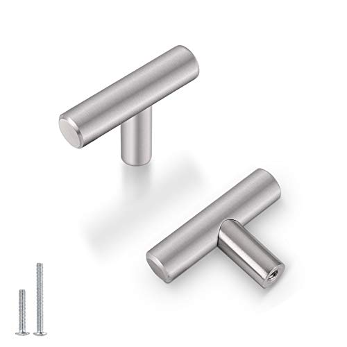"""(5 Pack) Probrico 2"""" Single Hole Cabinet Knobs Solid Stainless Steel Brushed Nickel Kitchen Drawer Dresser Cabinet Knobs Euro T Bar Pulls"""