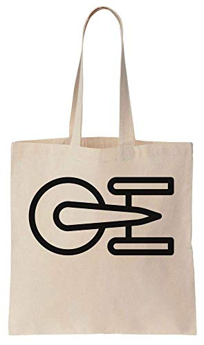 Finest Prints Minimal Space Ship Icon Design Cotton Canvas Tote Bag