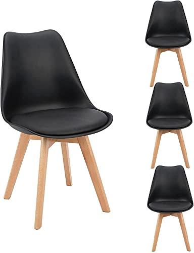 Flamingo Casa - Juego de 4 sillas de comedor, cocina, bar, con forma de tulipán, asiento con patas de madera de haya para oficina, color negro