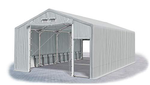 Das Company Lagerhalle 8x8x3m grau extra dauerhaft feuersicher wasserdicht ganzjährig Industriezelt haltbar Stahlseile 600g/m² PVC Polar Plus SFR