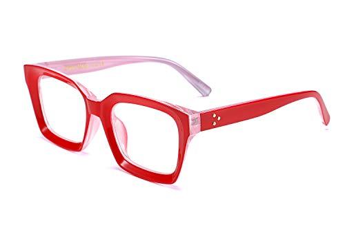 FEISEDY Classici Montatura Spessa Lenti Trasparenti occhiali donna da vista Occhiali da Vista Quadrati B2461