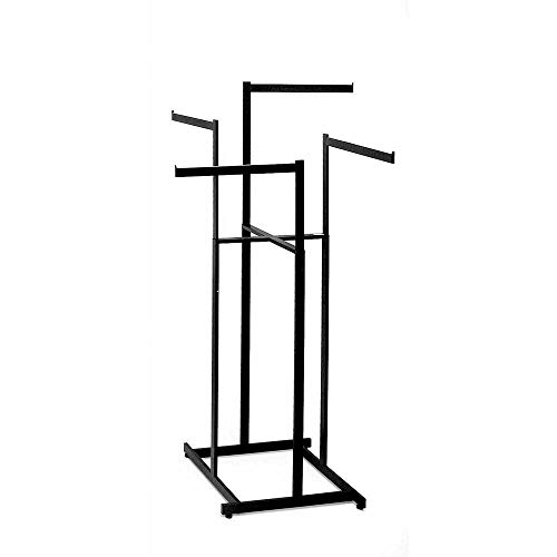 Clothing Rack – Black 4 Way Rack, High Capacity, Blade Arms, Square Tubing, Perfect for Clothing Store Display With 4 Straight Arms