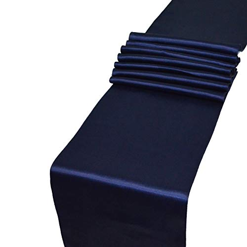 Parfair Dessin Pack of 10 Satin Table Runners 12 x 108 inch for Wedding Banquet Reception Party Decoration, Bright Silk and Smooth Fabric Party Table Runner - Navy Blue